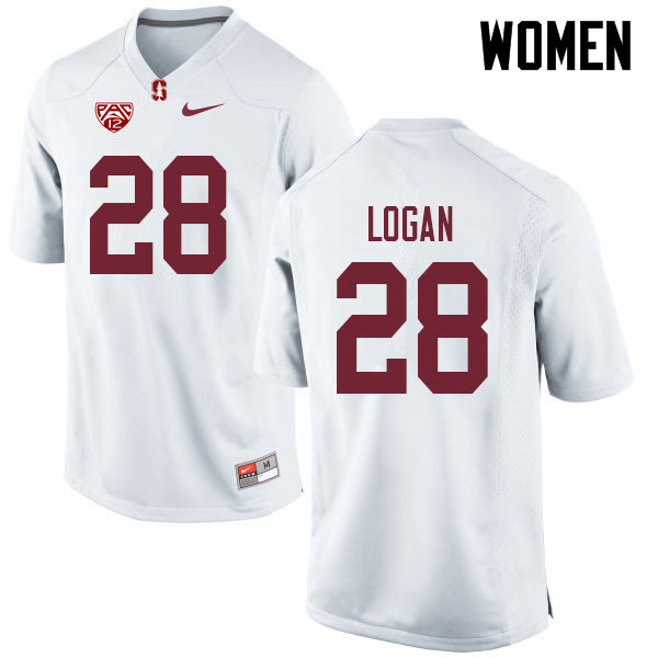 Women #28 Donjae Logan Stanford Cardinal College Football Jerseys Sale-White